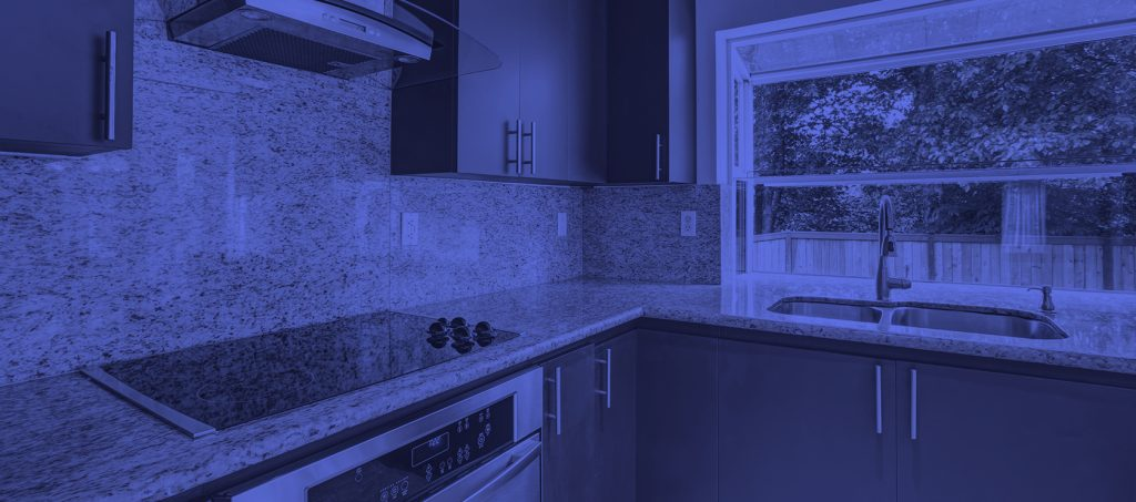 banner of granite countertops with a blue filter