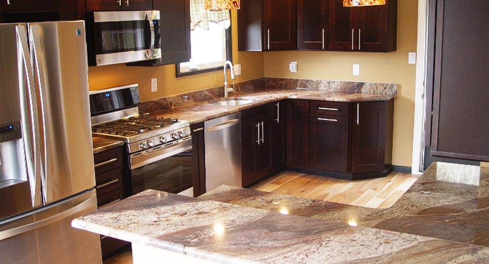 granite countertop slider with dark parttern