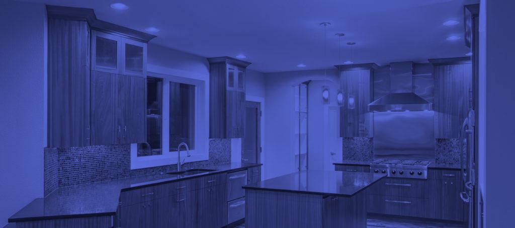 blue slider image of kitchen