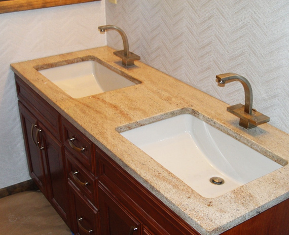 his and hers sink vanity with a granite counter