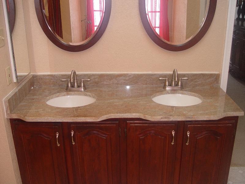 granite countertop on double sink vanity in the bathroom