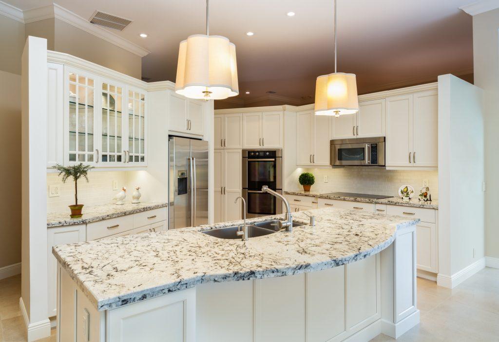 kitchen with new granite countertop